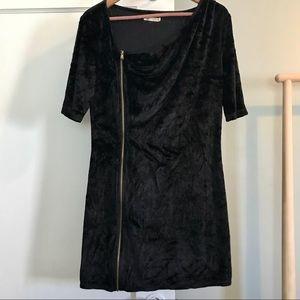 Womens Black Crushed Velvet Zip Bodycon Dress Sz L